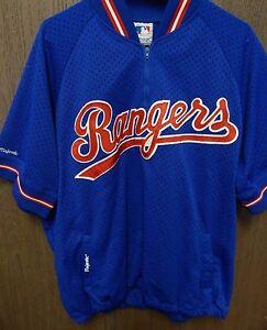 Texas Rangers Majestic Warm Up Baseball Jersey Jacket Size X-Large MLB Rare  (A)