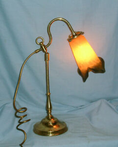 VINTAGE - BRASS ADJUSTABLE  DESK / TABLE LAMP - WITH ART DECO STYLE SHADE