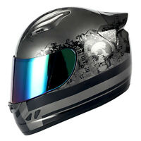 1STORM MOTORCYCLE STREET BIKE FULL FACE HELMET MECHANIC MATT BLACK SILVER SKULL