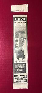 "1962 Edgar Allan Poe's ""The Premature Burial"" Ray Milland movie print ad 10.5x2"""