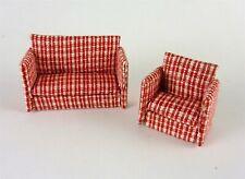 Dollhouse Miniature Artisan Quarter Scale 1:48 Red Sofa Set