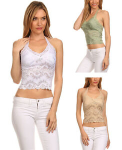 New Women's Sexy Midriff Halter Top Lacy Camisole Sleeveless Lace Top