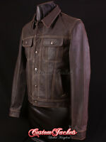 Men's TRUCKER Brown With Beige Stitch Western Skipper Leather Classic Jacket