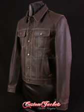 Men's TRUCKER Leather Jacket Western Classic Brown Denim Style Shirt Jacket