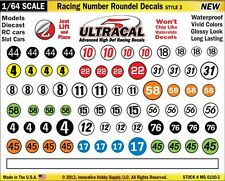 MG-6100-3 1/64 High Def UltraCal Racing Decals Number Roundel Decals Style 3
