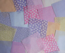 "100 x 4"" Fabric Remnant Bundle patchwork squares~Pastel Collection~Craft"
