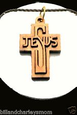 Cross pendant, Jesus made from Holy Land Olive Wood (HL003) Carded Christian