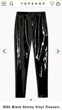 Topshop IDOL Black Skinny Vinyl Trousers UK14 Goth Fetish Punk