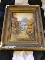 Antique vintage gilt framed Signed very old Original Watercolour Painting