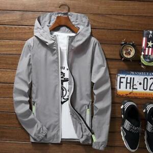 Men Waterproof Wind Breaker Zipper Hoodie Light Jacket Outwear Gym ThinWind Coat