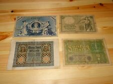1906- 1920 GERMANY/ WEIMAR/ INFLATION/ REICH. LOT OF 4 BANKNOTES. LOT # 1