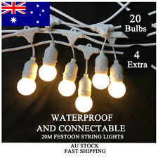 20M White LED Festoon String Lights Kit Wedding Party Xmas Waterproof Outdoor AU