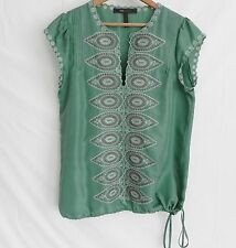 BCBG Maxazria Top/Blouse Size S Green 100% Silk Cap Sleeves Embroidery Loose Fit