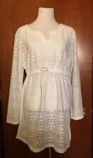 Crochet Lace XL SwimSuit Cover Up Tunic Top White Long Sleeve Boho Covers Bottom