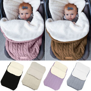 Baby Knitted Stroller Sleeping Bag Newborn Swaddle Blanket Pram Wrap Thicken Car