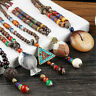 Necklace Bohemian Pattern Beaded Wood Multi Vintage Handmade Pendants Ethnic