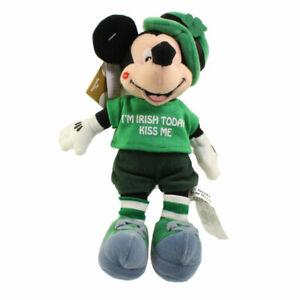 """Disney Bean Bag Plush - ST.PATRICK MICKEY MOUSE """"I'M IRISH TODAY KISS ME"""" - Mint"""