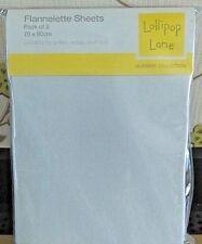 2x100%Cotton Flannelette Flat Pram Sheets White 70x90cm Moses Crib Lollipop lane