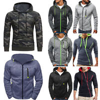 Winter Mens Hooded Hoodie Sweatshirt Jumper Sweater Outwear Zip Jacket Coat Tops