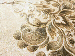 QUALITY CREAM GOLD EMBOSSED DAMASK CLASSIC FLORAL PATTERN 3D WALLPAPER 53cmX9.5m