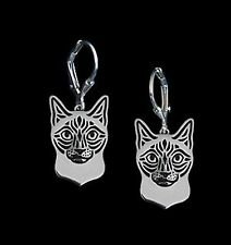Siamese Cat Earrings -  Fashion Jewellery - Silver Plated, Leverback Hook