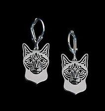 Siamese Cat Earrings -  Fashion Jewellery - Silver Plated, Leverback Hook