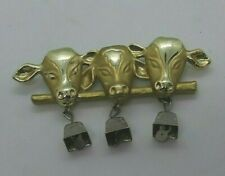 with Dangling Silver Bells Brooch Ajc Signed Gold Tone Cows