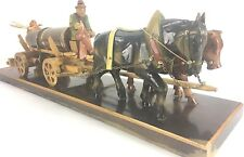 """Rhon Sepp German Black Forest Hand Carved Figures Beer Cart Horse and Oxen 24x6"""""""