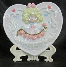Precious Moments Porcelain Heart Plate Easel Touched Hearts Enesco 158992 1995