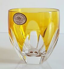 AJKA LAUSANNE YELLOW GOLD LEAD CRYSTAL WHISKEY TUMBLER / GLASS, NEW, SIGNED