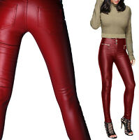 New Women's Ladies Sexy Trousers Leather Look Slim Fit Skinny 3 Button Zip Jeans