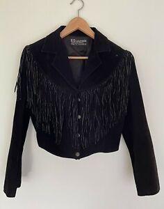 H.D Leather Sydney black suede fringed cropped 80's rock boho 6-12 rock jacket