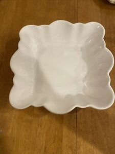 FARVAL WHITE SCALLOPED SQUARE SERVING BOWL FRUIT CANDY DISH PORTUGAL
