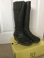 FLY London Women's Khaki Green leather long wedge boots size 5 EU 38