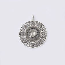 3Pcs Large Tibetan Silver Hollow Round Flower Charm Pendant for Necklace Finding