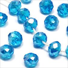 Lot de 20 Perles à Facettes Rondelles en cristal 8x6mm Bleu Azur