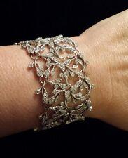 SPECTACULAR Sterling Silver Intricate Vine &Leaves CZ Art Nouveau-Style Bracelet
