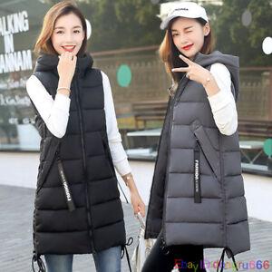 Fashion Women Winter Long Vest Warm Hooded Jacket Ladies Waistcoat Cotton Coat