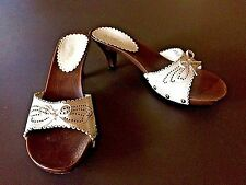 X-appeal Daisy White Perforated Cut Out Faux Wood Lower Sandal Heels Slides 10 M