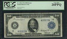 "FR1024 $50 1914 FRN ""BOSTON"" PCGS 20 PPQ VF+ RARE (ONLY 76 RECORDED) HW3597"