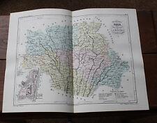 1850 Carte Géographique Atlas époque couleur Département 32 Gers Auch