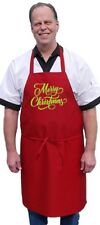 Merry Christmas Red Holiday Chef Aprons, Womens Kitchen Aprons by CoolAprons