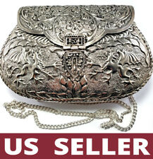 Handcrafted 💕 Unique Antique Silver Brass Metal Bag Dragons Carved Clutch Purse