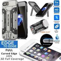 360°Full Body Hybrid Armor Hard Wallet Case+Tempered Glass iPhone X/8/7/6/5S/SE