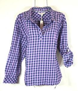 Tommy Bahama Women's Bonita Check Popover Purple Blossom Shirt Top XL NWT