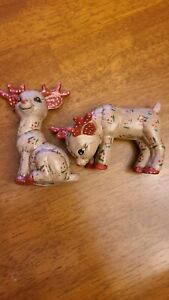 "Set of 2 ceramic reindeer  4"" Christmas  holiday decor figurines. C3"