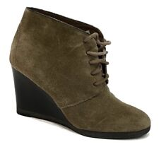 FRANCO SARTO  Weston Wedge Suede Taupe Bootie Tall Stacked Heel Women's Size 6.5