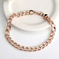 """Women/Men Bracelet Chain 18K Rose Gold Filled 8.2""""Link GF Fashion Jewelry"""