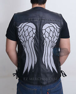 THE WALKING DEAD GOVERNOR - DARYL DIXON ANGEL WINGS LEATHER VEST JACKET