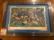 "BARRY SANDERS Autographed  ""Catch me if you can"" Winford Print Custom Framed COA"